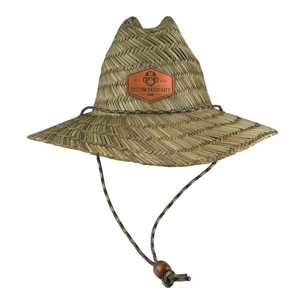 Custom Straw Lifeguard Hat Leather Patch Hat