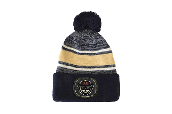 August Cap Pom Striped Beanie Khaki:navy Patch