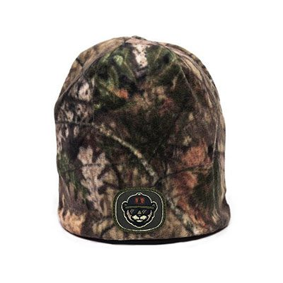 3DOutdoor Cap FCB 150 Fleece Camo Beanie Mossy Oak BreakUp Country:Black Patch