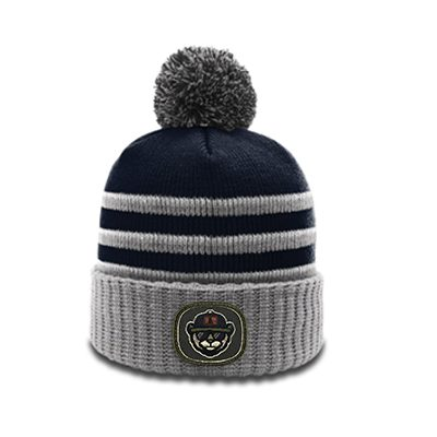 Richardson Pom Beanie 134 Navy Grey White Patch